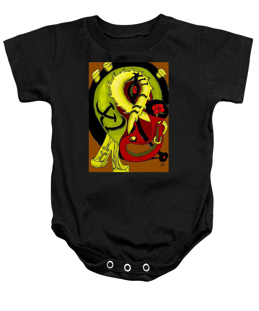 Clock Baby Onesie featuring the digital art The Clock by Helmut Rottler