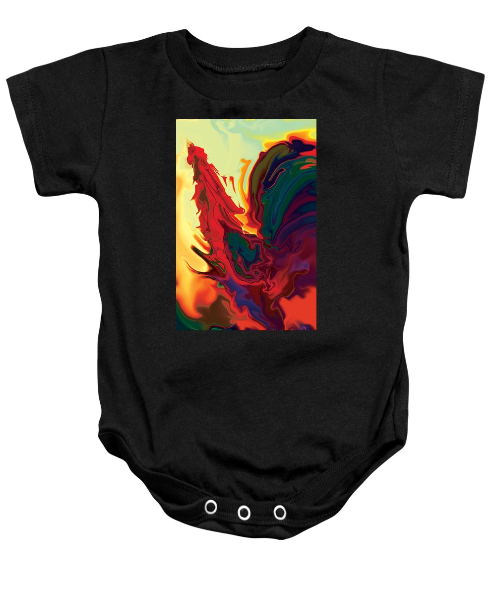 Animals Baby Onesie featuring the digital art The Cock 2 by Rabi Khan