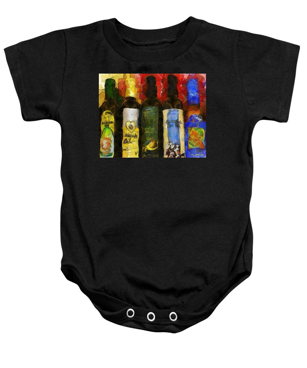 Bottles Baby Onesie featuring the painting The Cook's Elixirs by RC DeWinter