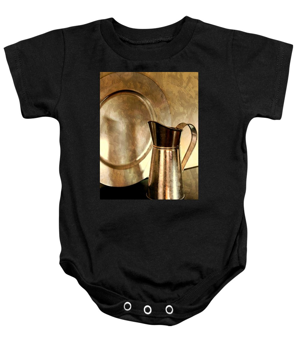 Still Life Baby Onesie featuring the photograph The Copper Pitcher by Diana Angstadt