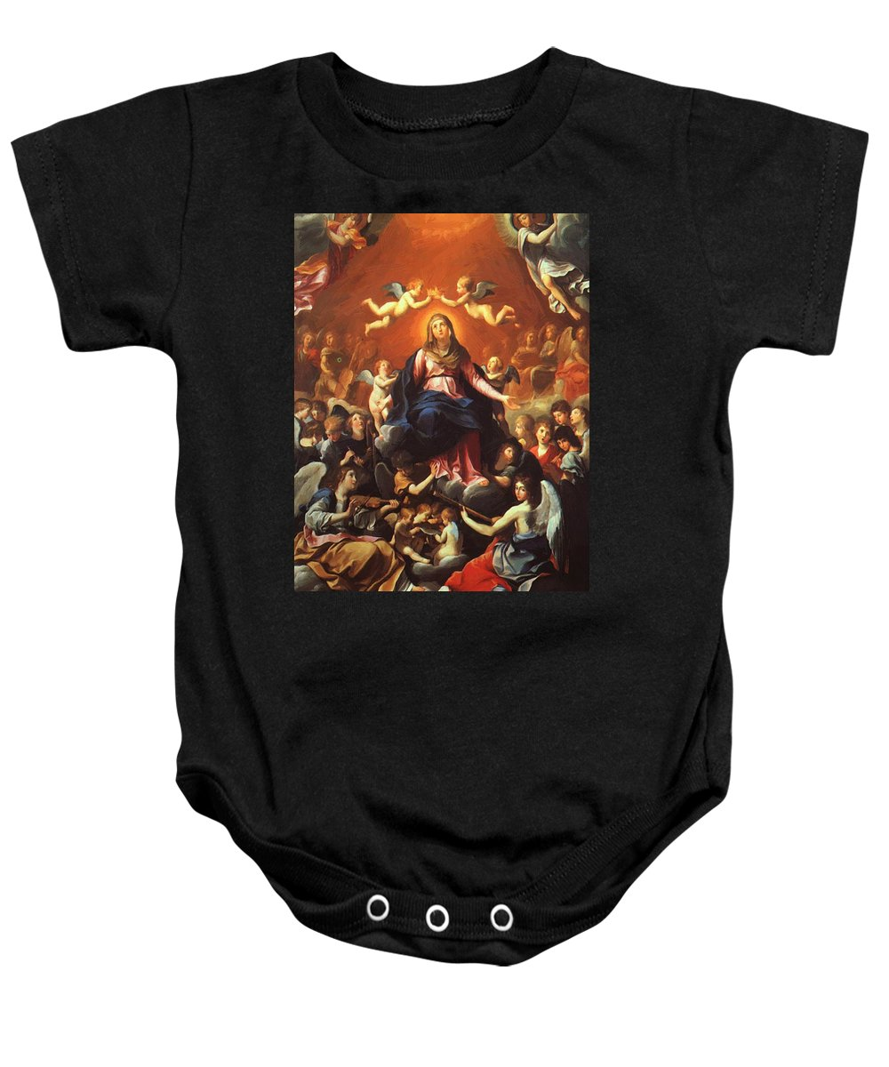 The Baby Onesie featuring the painting The Coronation Of The Virgin 1626 by Reni Guido