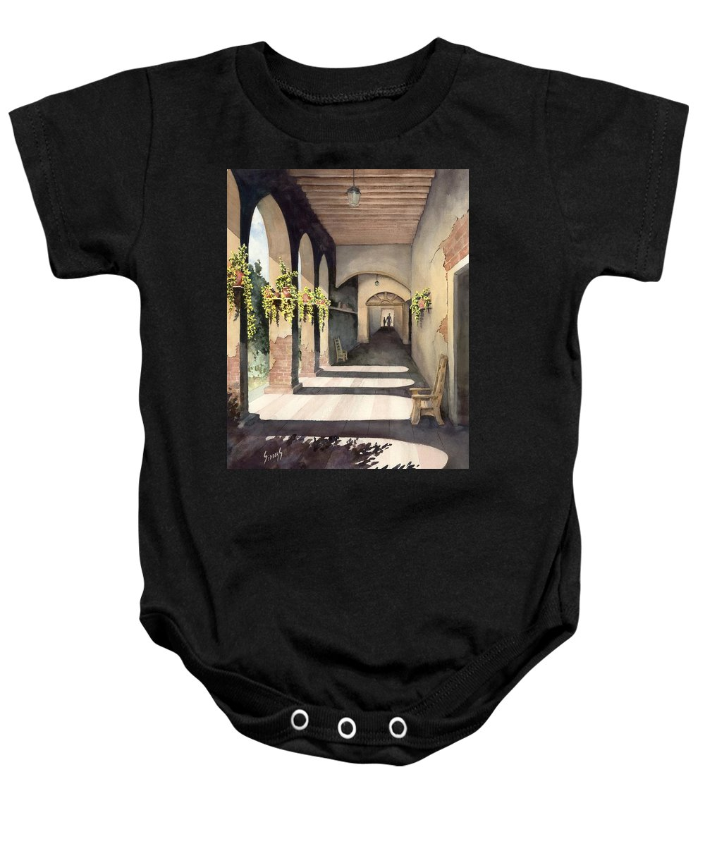 Plants Baby Onesie featuring the painting The Corridor 2 by Sam Sidders