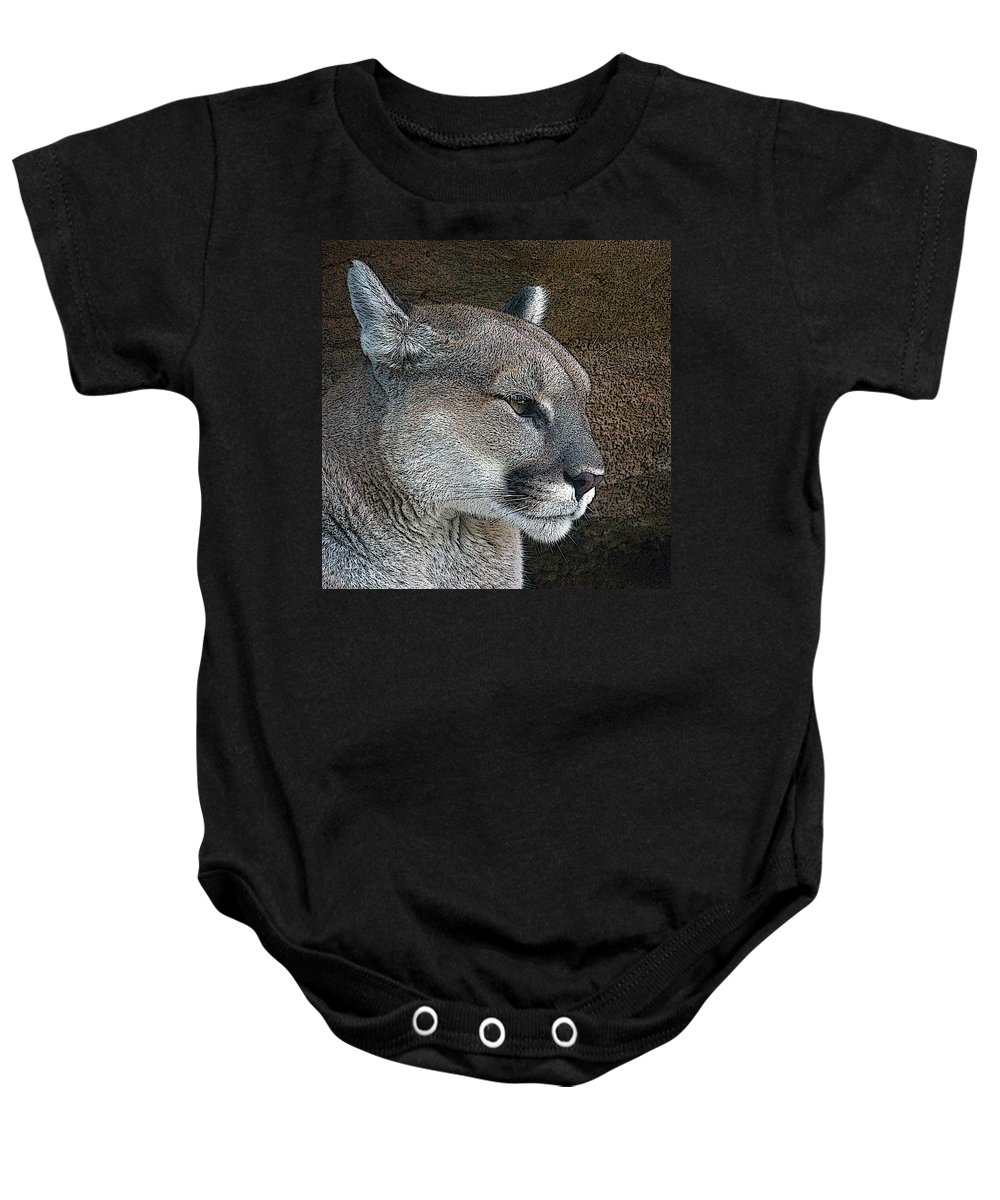 Mountain Lion Baby Onesie featuring the photograph The Cougar by Ernie Echols