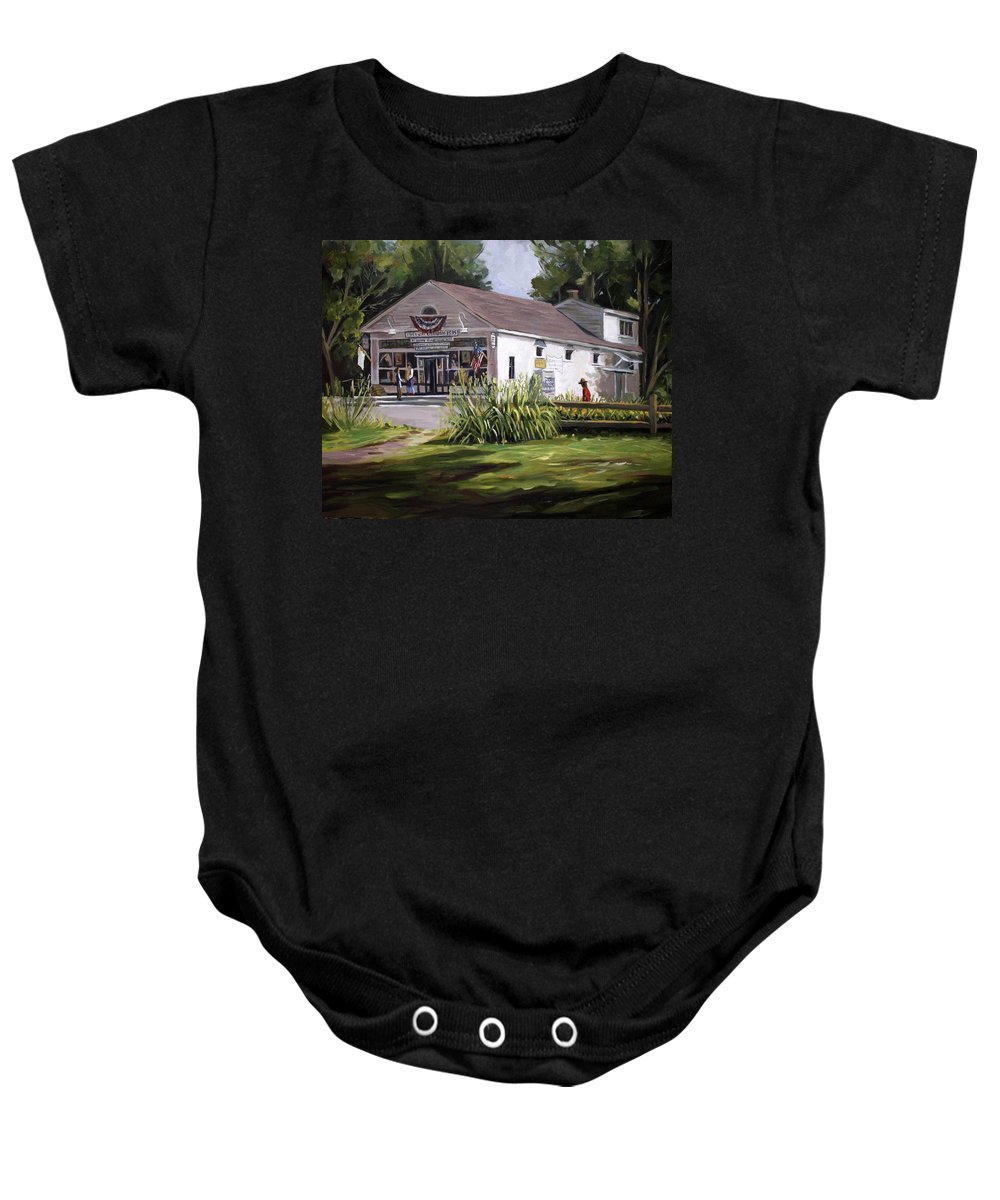 Buildings Baby Onesie featuring the painting The Country Store by Nancy Griswold