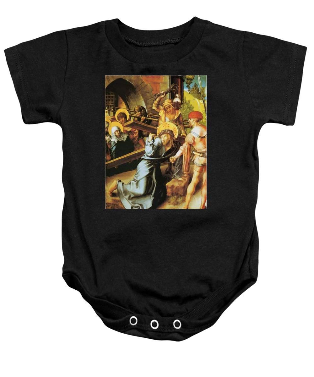 The Baby Onesie featuring the painting The Cross 1497 by Durer Albrecht