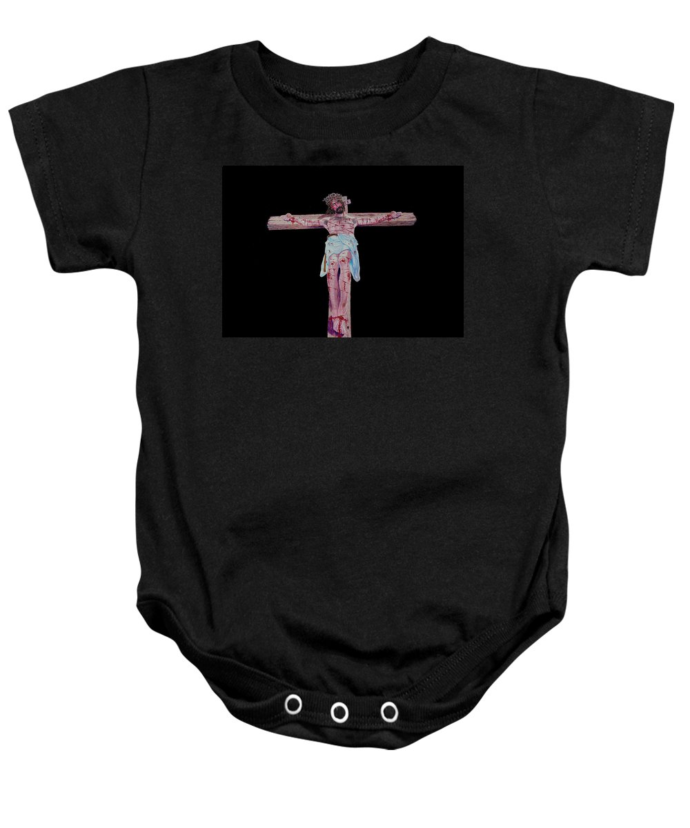 Crucifixion Baby Onesie featuring the painting The Crucifixion by Stan Hamilton