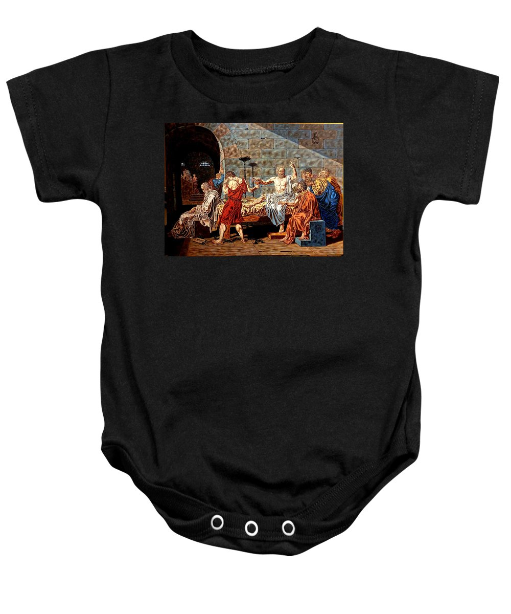 Baby Onesie featuring the painting The Death Of Socrates by Daniel Georgescu