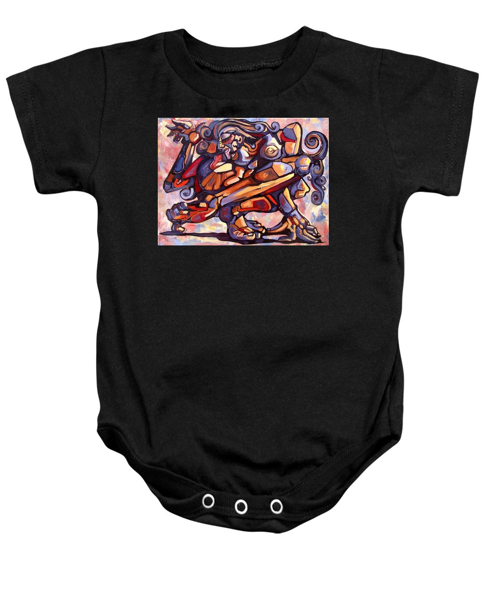 Surrealism Baby Onesie featuring the painting The Distortion Of The Muse by Darwin Leon