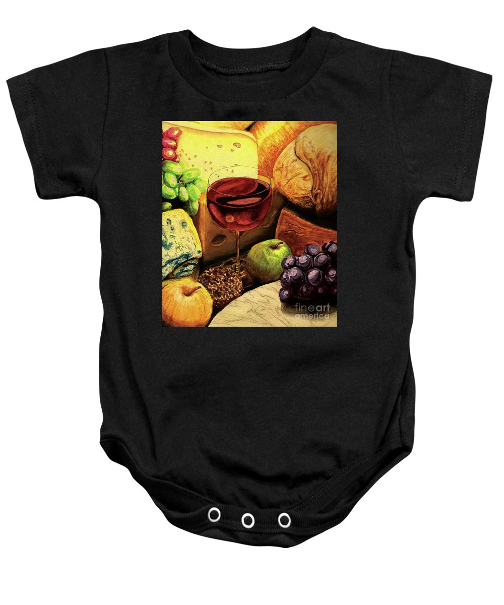 Divine Baby Onesie featuring the painting The Divine Meal by Lilith De' Anu