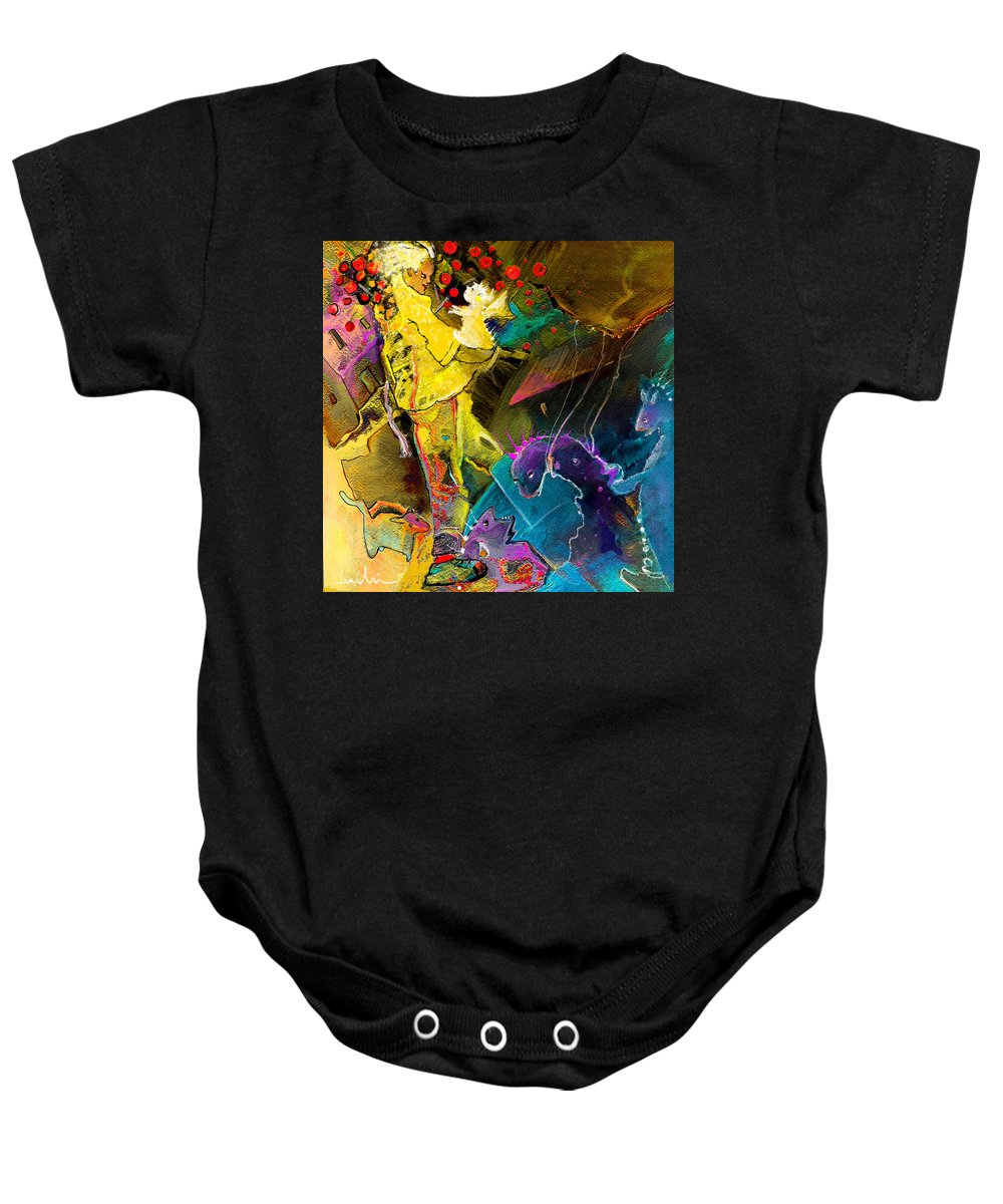 Fantasy Baby Onesie featuring the painting The Dragon Nursery Under The Apple Tree by Miki De Goodaboom