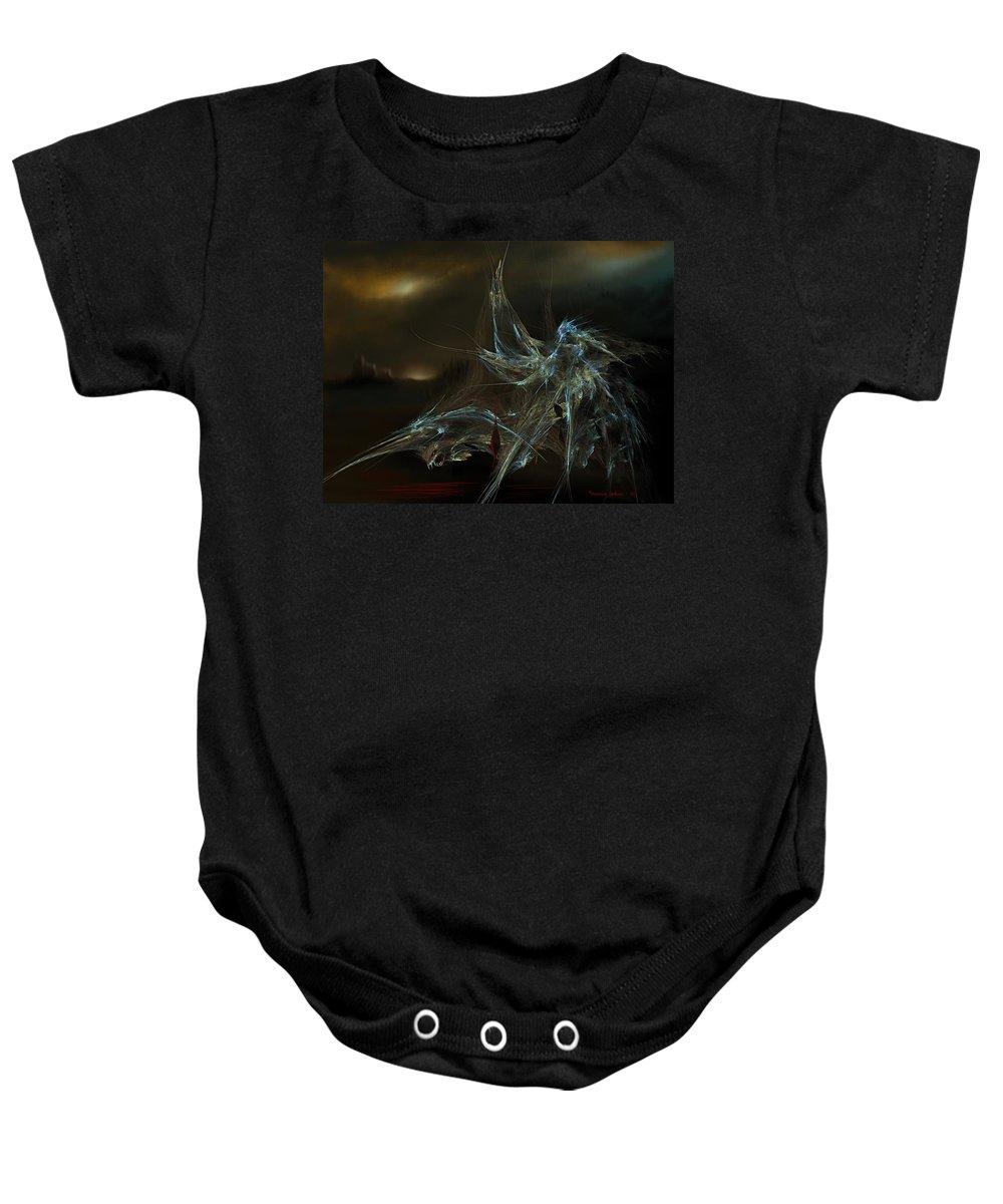 Dragon Warrior Medieval Fantasy Darkness Baby Onesie featuring the digital art The Dragon Warrior by Veronica Jackson