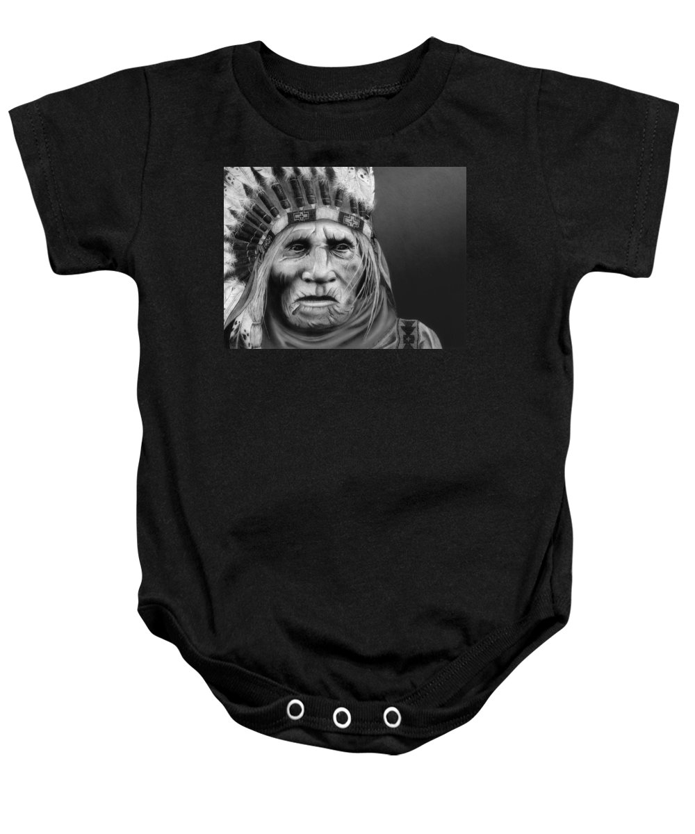 Native American Baby Onesie featuring the painting The Elder by Pablo DeLuna