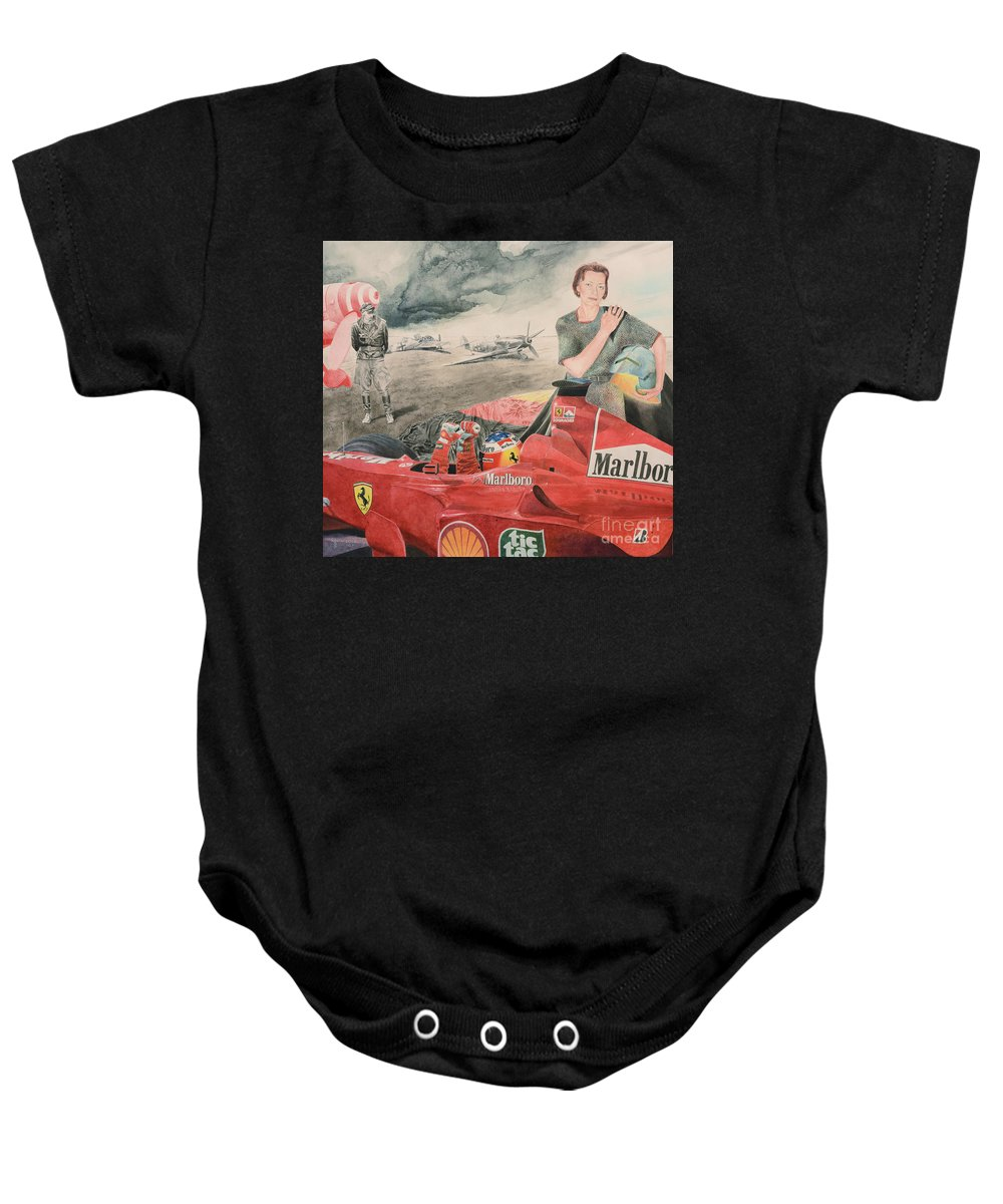 Luftwaffe Baby Onesie featuring the painting The Enigma Of Erich Hartmann by Oleg Konin