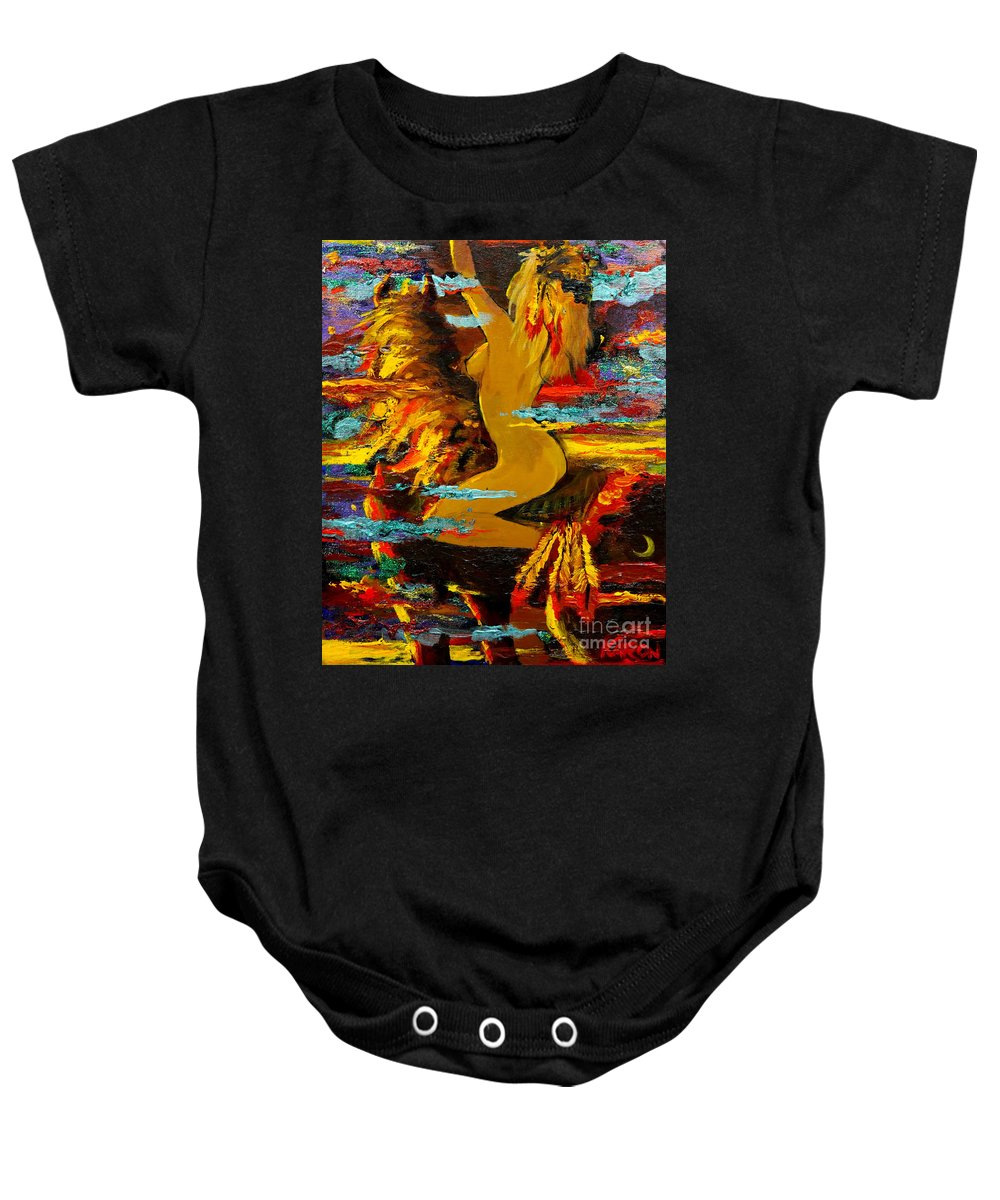 Abstract Baby Onesie featuring the painting The Eternal Sea - Self Portrait by Karon Melillo DeVega