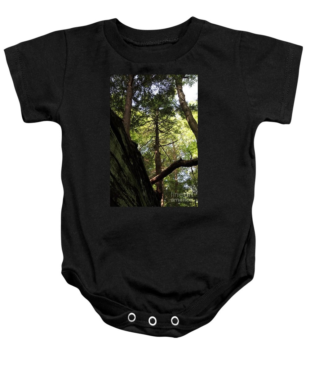 Tree Baby Onesie featuring the photograph The Fallen Triangle by Amanda Barcon