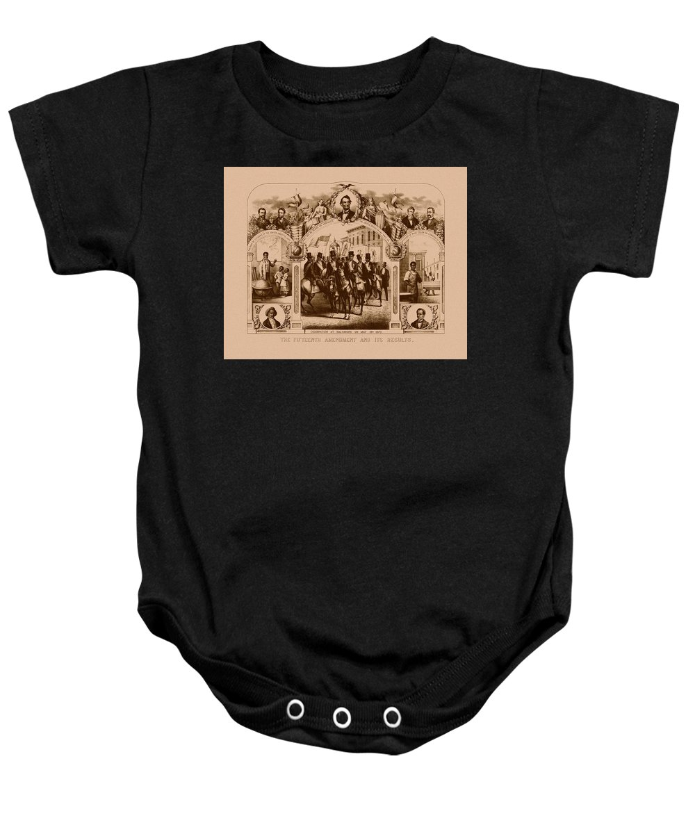 Black History Baby Onesie featuring the mixed media The Fifteenth Amendment And Its Results by War Is Hell Store