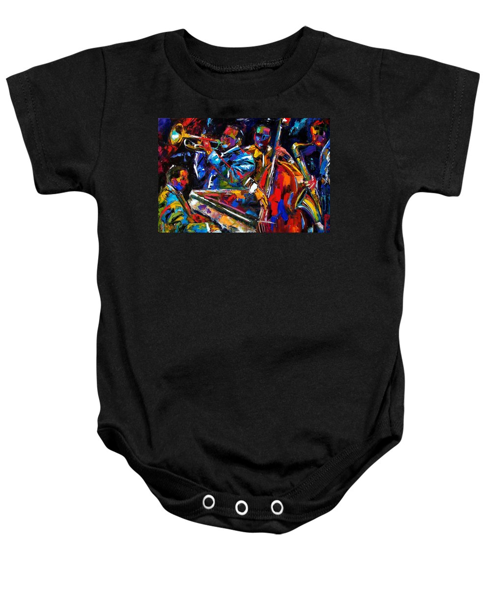 Jazz Baby Onesie featuring the painting The First Set by Debra Hurd