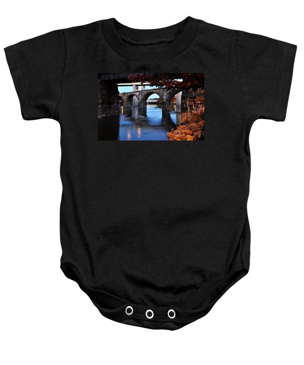 The Five Bridges - East Falls - Philadelphia Baby Onesie featuring the photograph The Five Bridges - East Falls - Philadelphia by Bill Cannon
