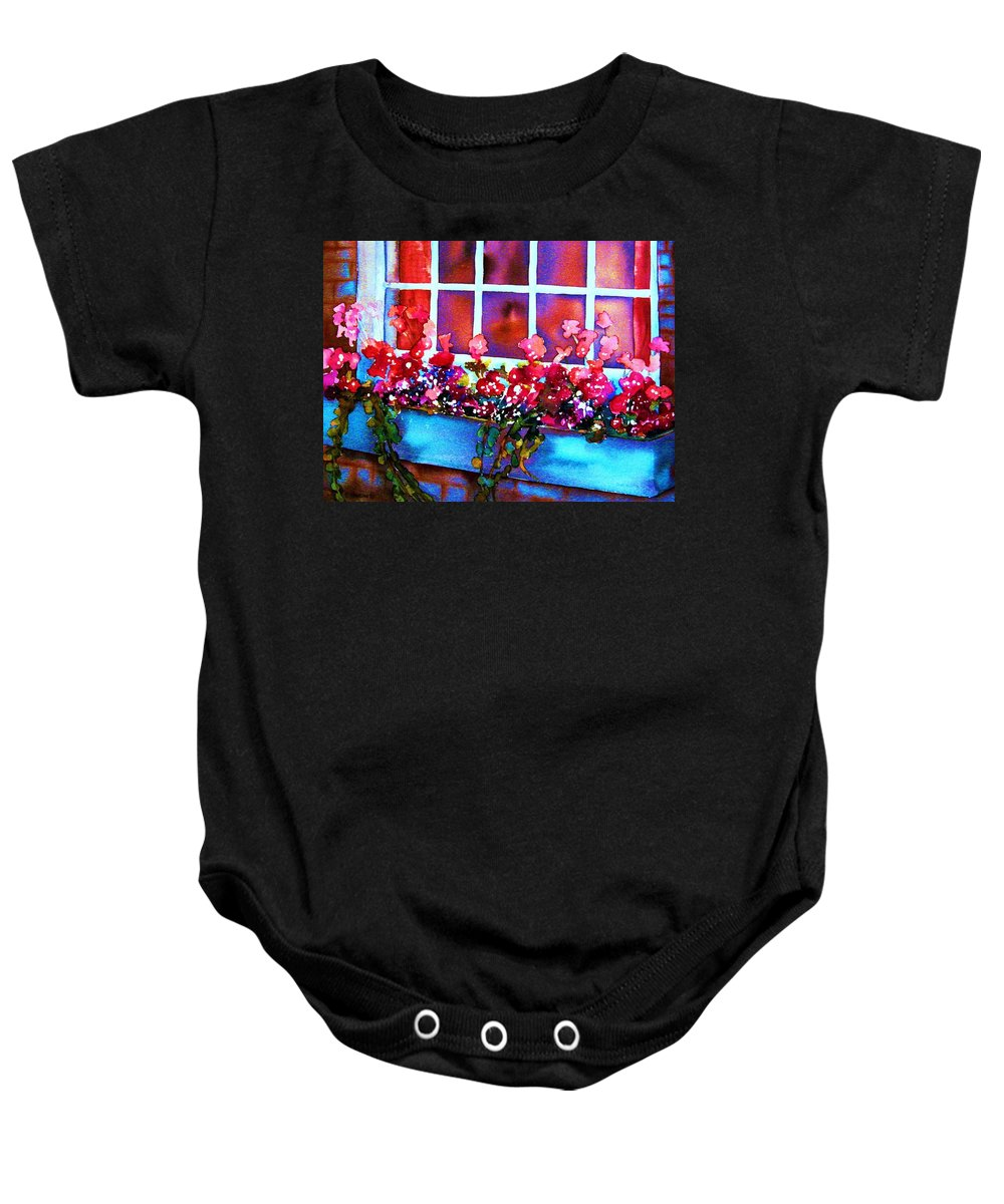 Flowerbox Baby Onesie featuring the painting The Flowerbox by Carole Spandau