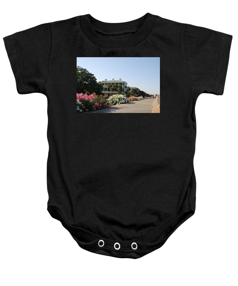 Photography Baby Onesie featuring the photograph The Flowers At The Battery Charleston Sc by Susanne Van Hulst