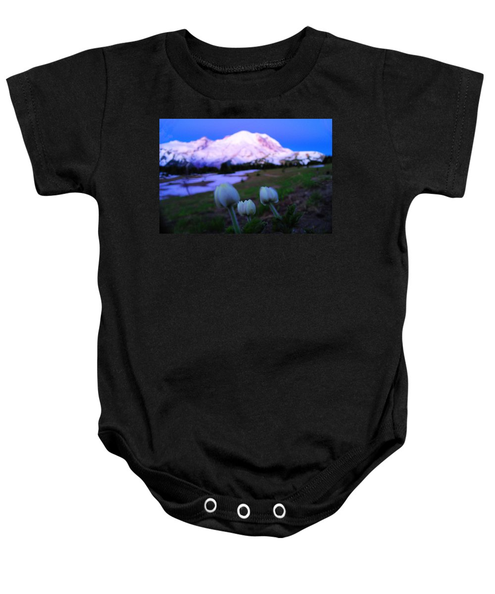 Mount Rainier National Park Baby Onesie featuring the photograph The Flowers Of Sunrise by Jeff Swan