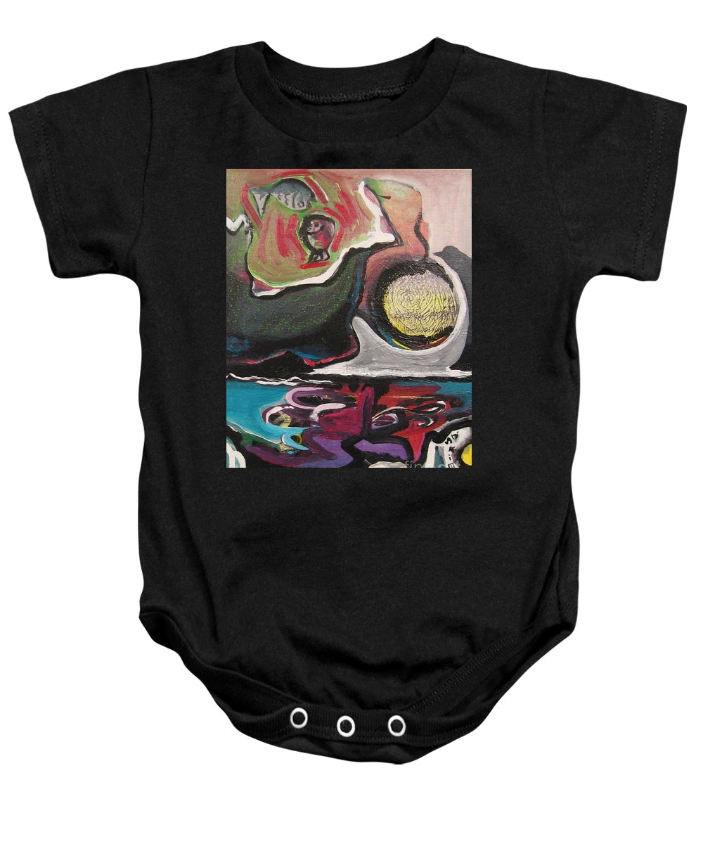 Abstract Paintings Baby Onesie featuring the painting The Full Moon2 by Seon-Jeong Kim
