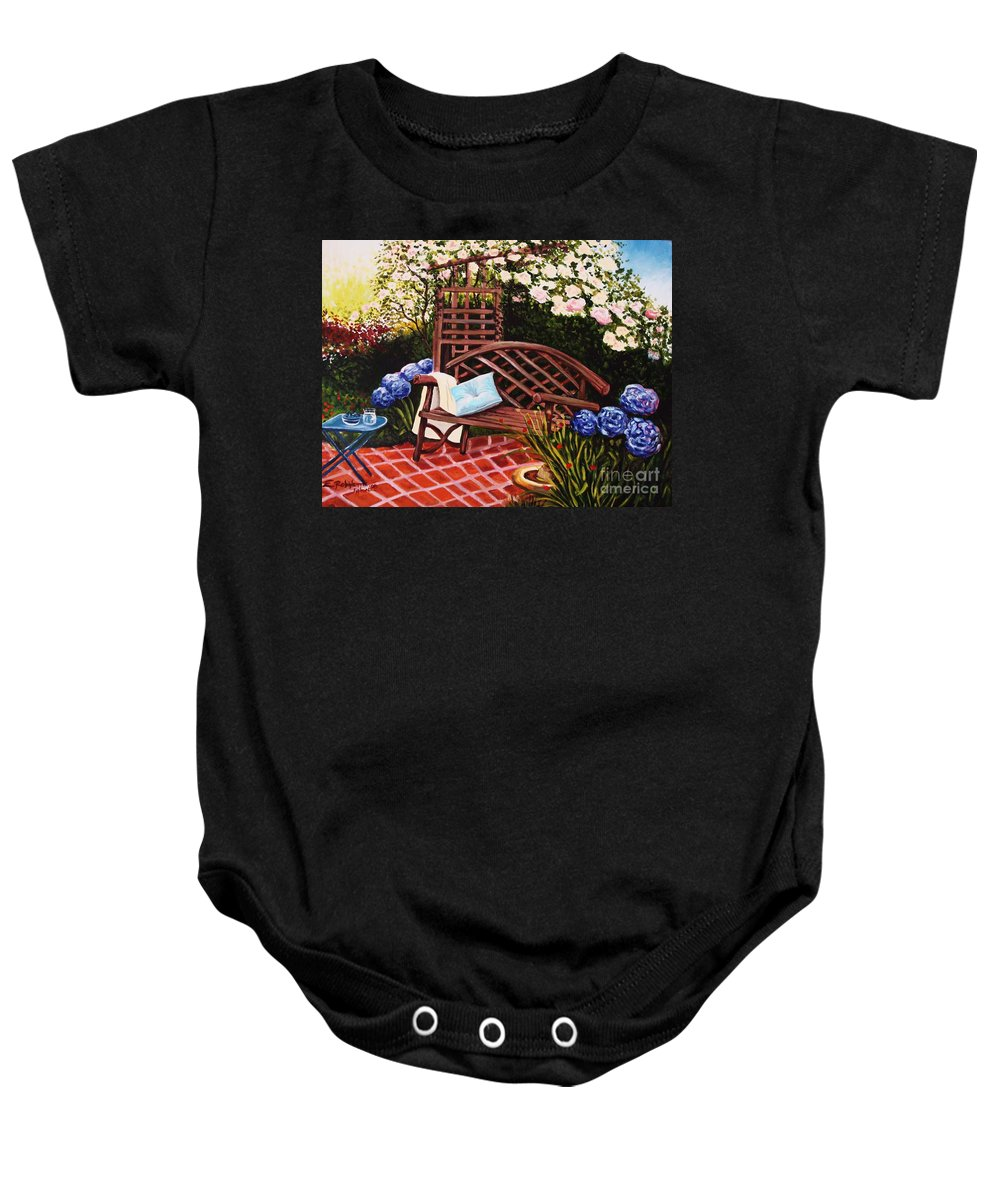 Landscape Baby Onesie featuring the painting The Garden by Elizabeth Robinette Tyndall
