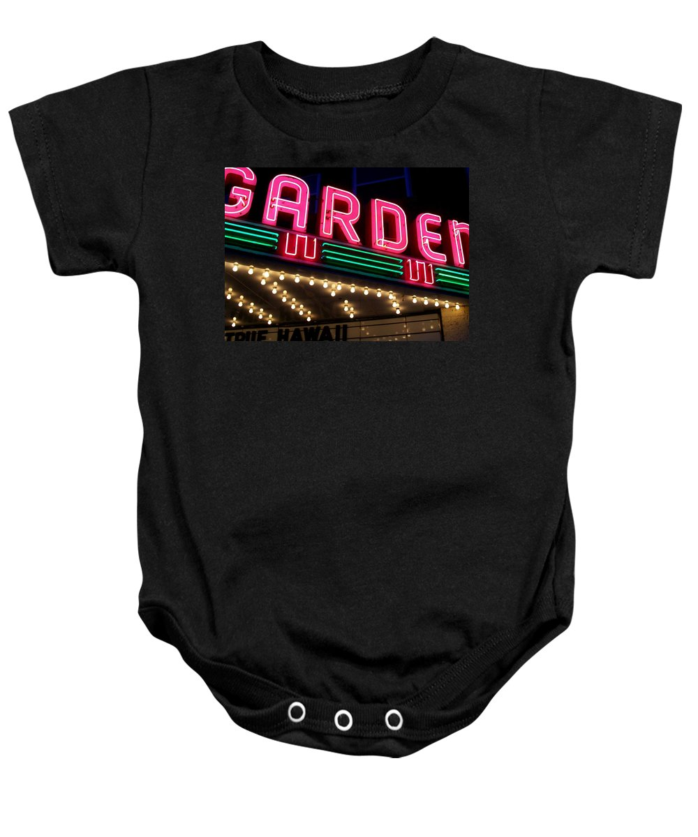 Theater Baby Onesie featuring the photograph The Garden Frankfort Mi by Michelle Calkins