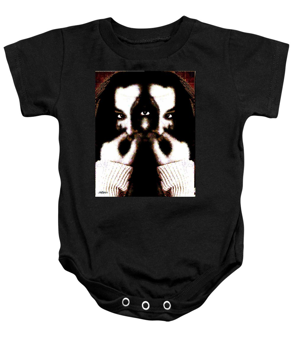 The Giggler Baby Onesie featuring the digital art The Giggler by Seth Weaver