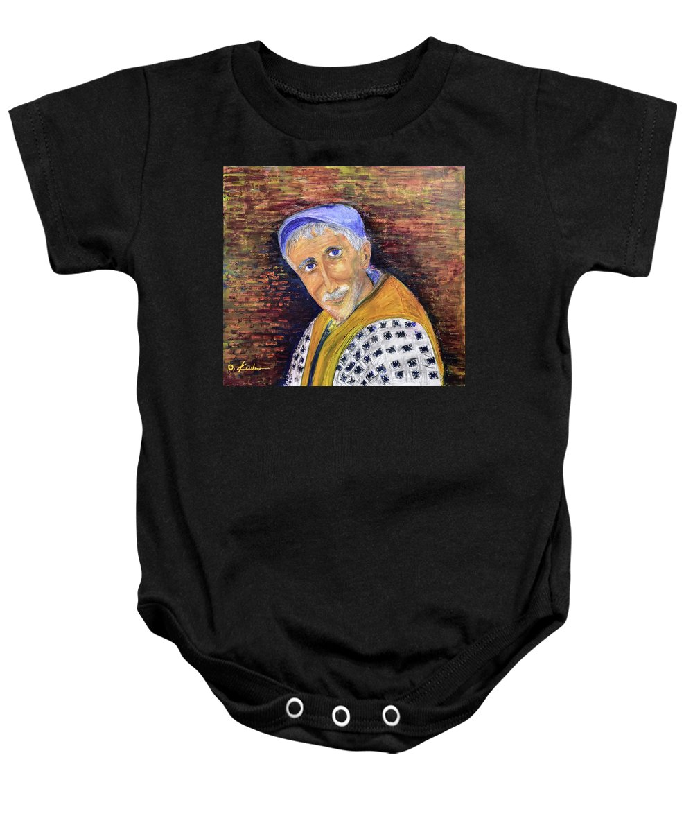 Man Baby Onesie featuring the painting The Glance by Ovadia Keidar