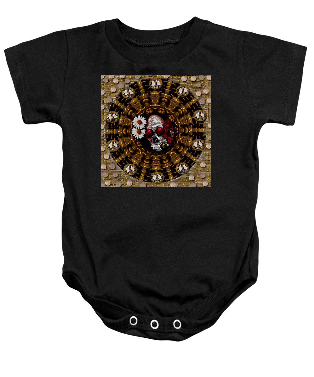 Skull Baby Onesie featuring the mixed media The Global Economy In Art by Pepita Selles