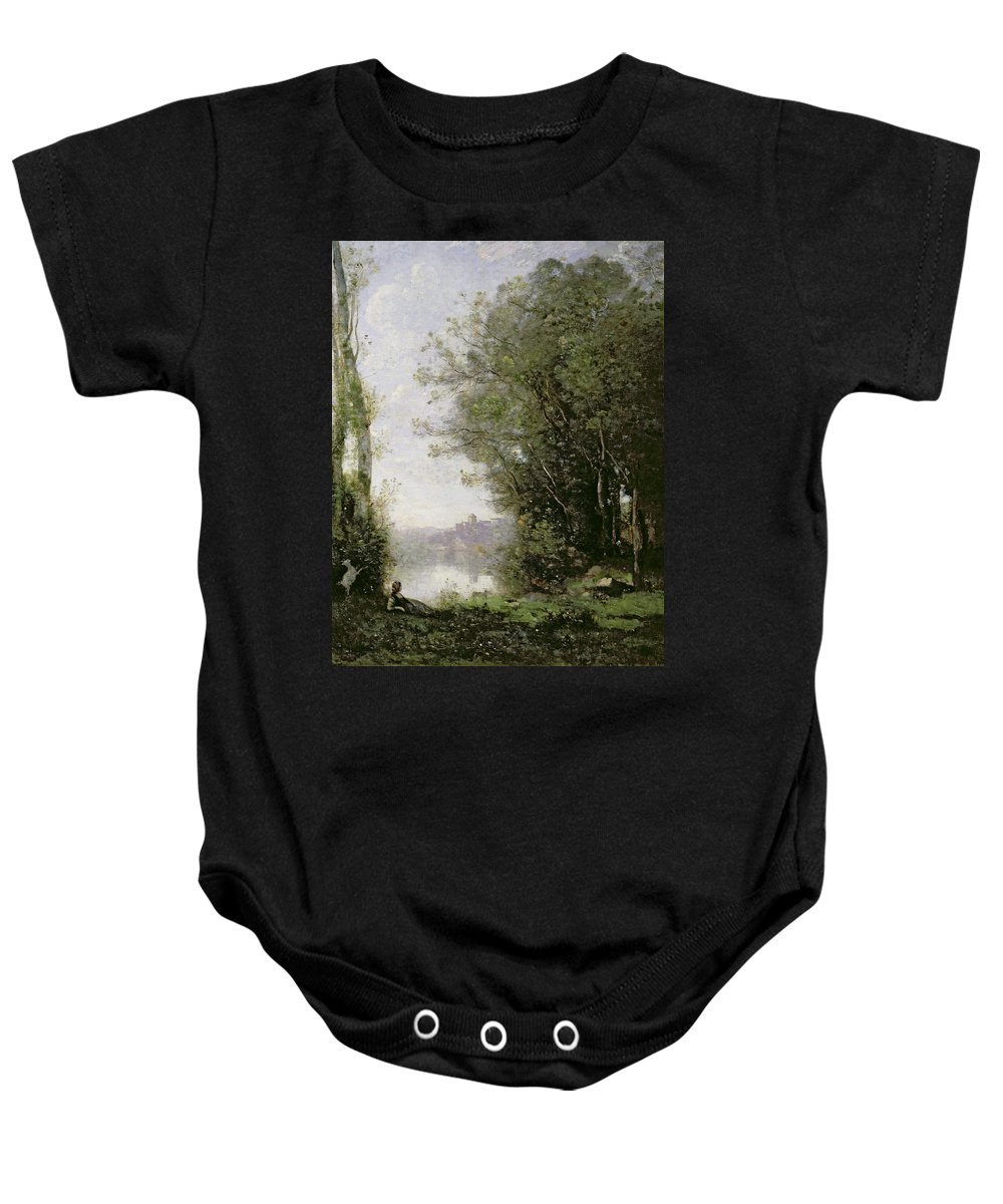 The Baby Onesie featuring the painting The Goatherd Beside The Water by Jean Baptiste Camille Corot