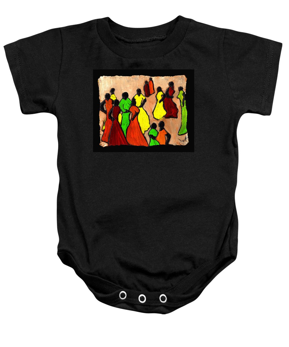 Women Baby Onesie featuring the painting The Gossips by Wayne Potrafka
