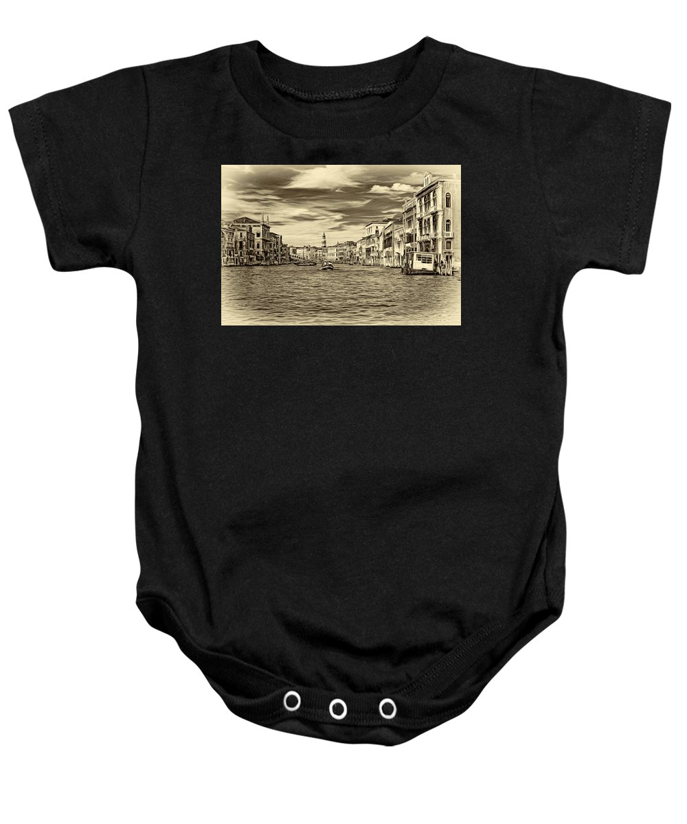 Venice Baby Onesie featuring the photograph The Grand Canal - Paint Sepia by Steve Harrington