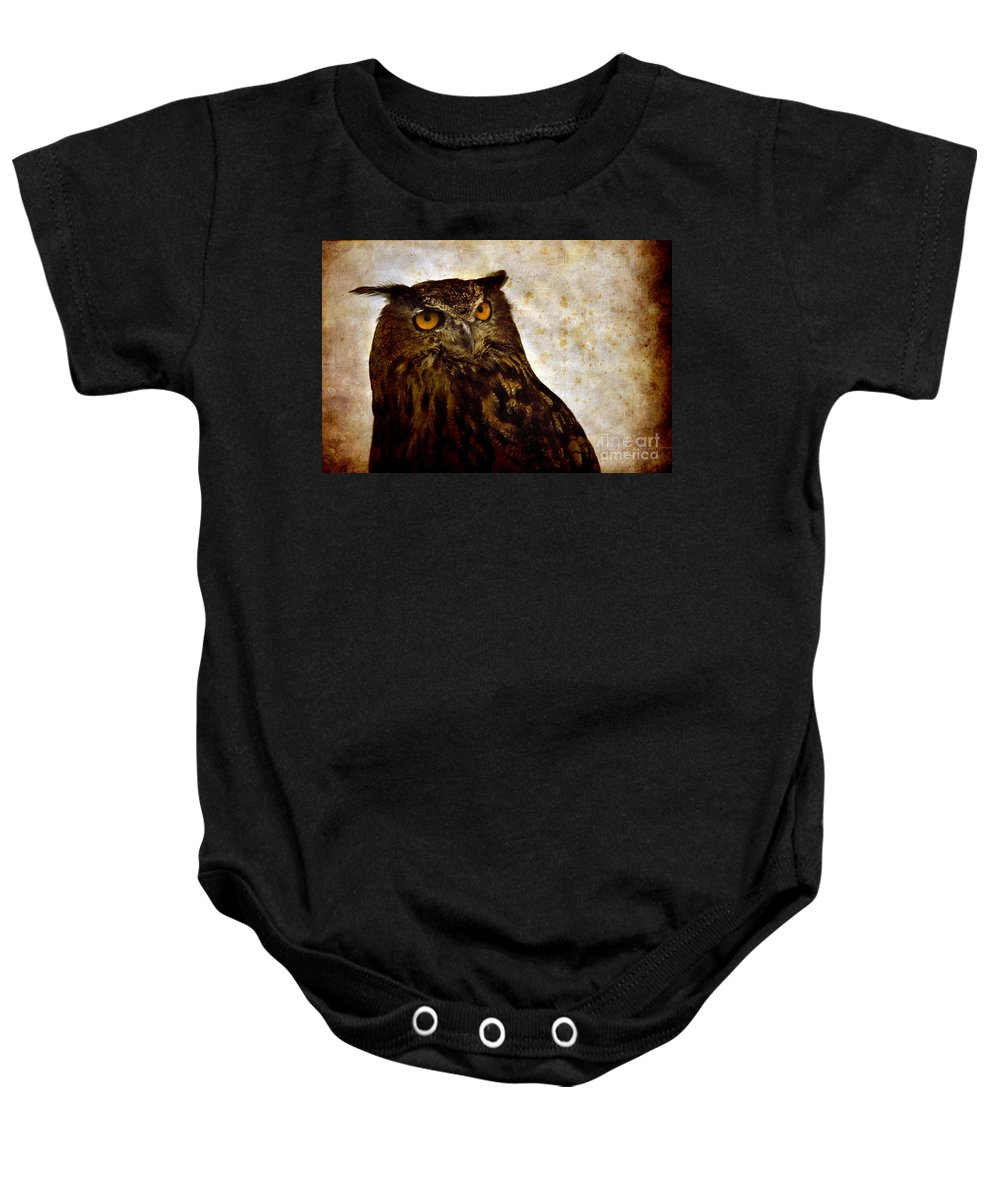 Great Owl Baby Onesie featuring the photograph The Great Owl by Angel Ciesniarska