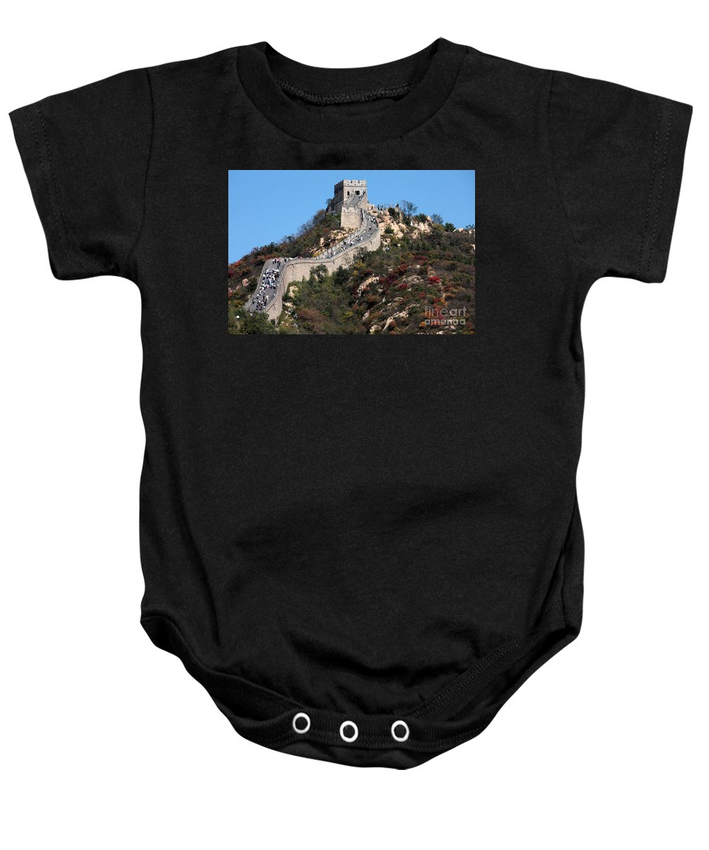 The Great Wall Of China Baby Onesie featuring the photograph The Great Wall Mountaintop by Carol Groenen
