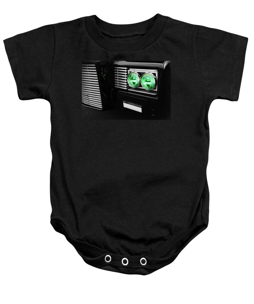 The Baby Onesie featuring the photograph The Green Hornet Black Beauty Clone Car by Gordon Dean II