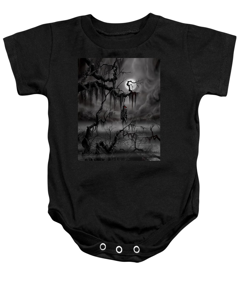 Nightmare Baby Onesie featuring the painting The Hangman by James Christopher Hill