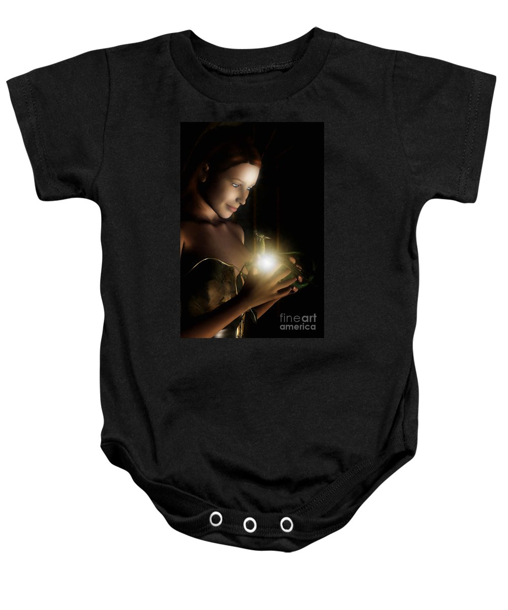 Hatchling Baby Onesie featuring the digital art The Hatchling by John Edwards