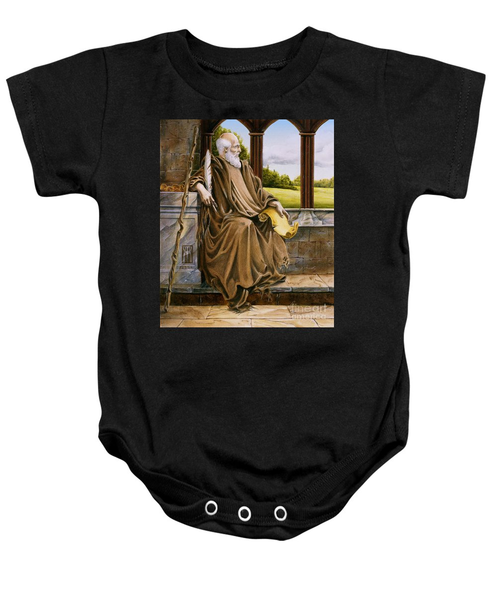 Wise Man Baby Onesie featuring the painting The Hermit Nascien by Melissa A Benson