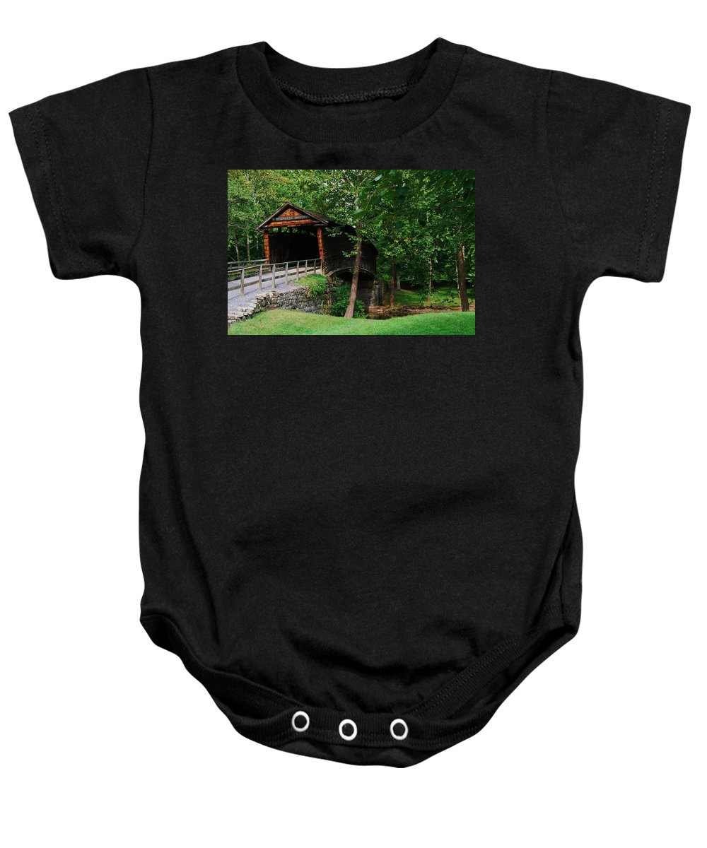 Covered Bridge Baby Onesie featuring the photograph The humpback bridge by Eric Liller