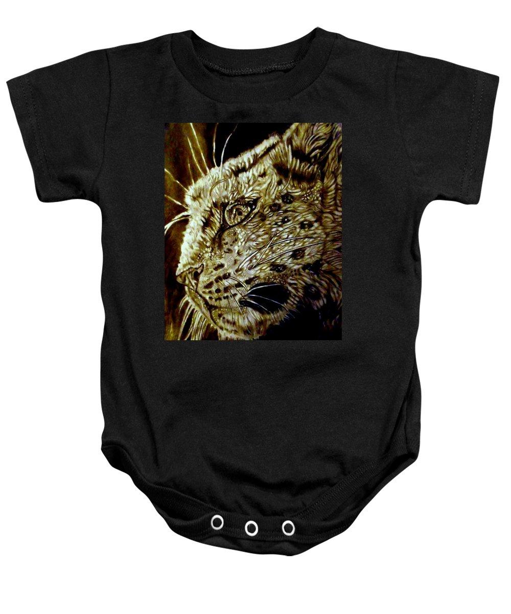 Snow Leopard Baby Onesie featuring the drawing The Hunt by Herbert Renard