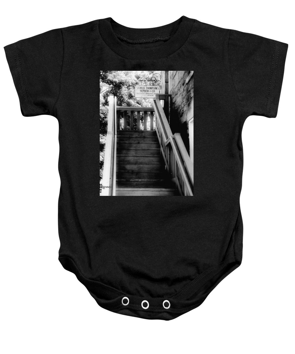 Black And White Baby Onesie featuring the photograph The Immigrant Traders by RC DeWinter