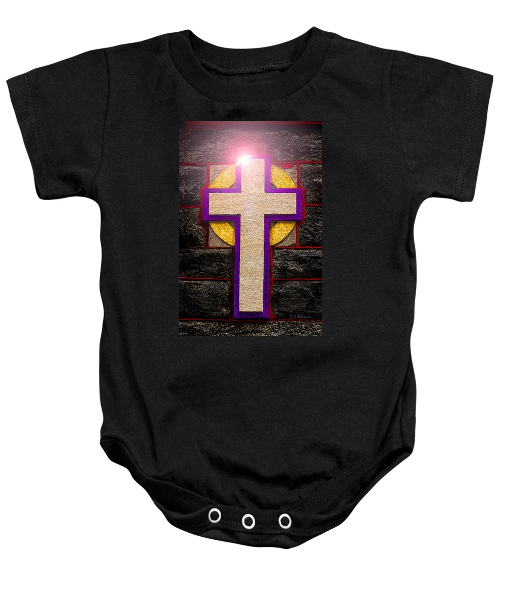 Cross Baby Onesie featuring the photograph The Inner Light by Christopher Holmes