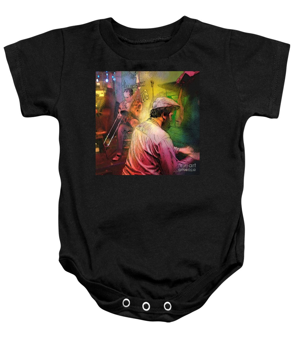 Jazz Baby Onesie featuring the painting The Jazz Vipers In New Orleans 01 by Miki De Goodaboom
