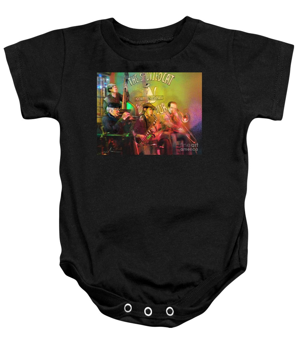 Jazz Baby Onesie featuring the painting The Jazz Vipers In New Orleans 02 by Miki De Goodaboom