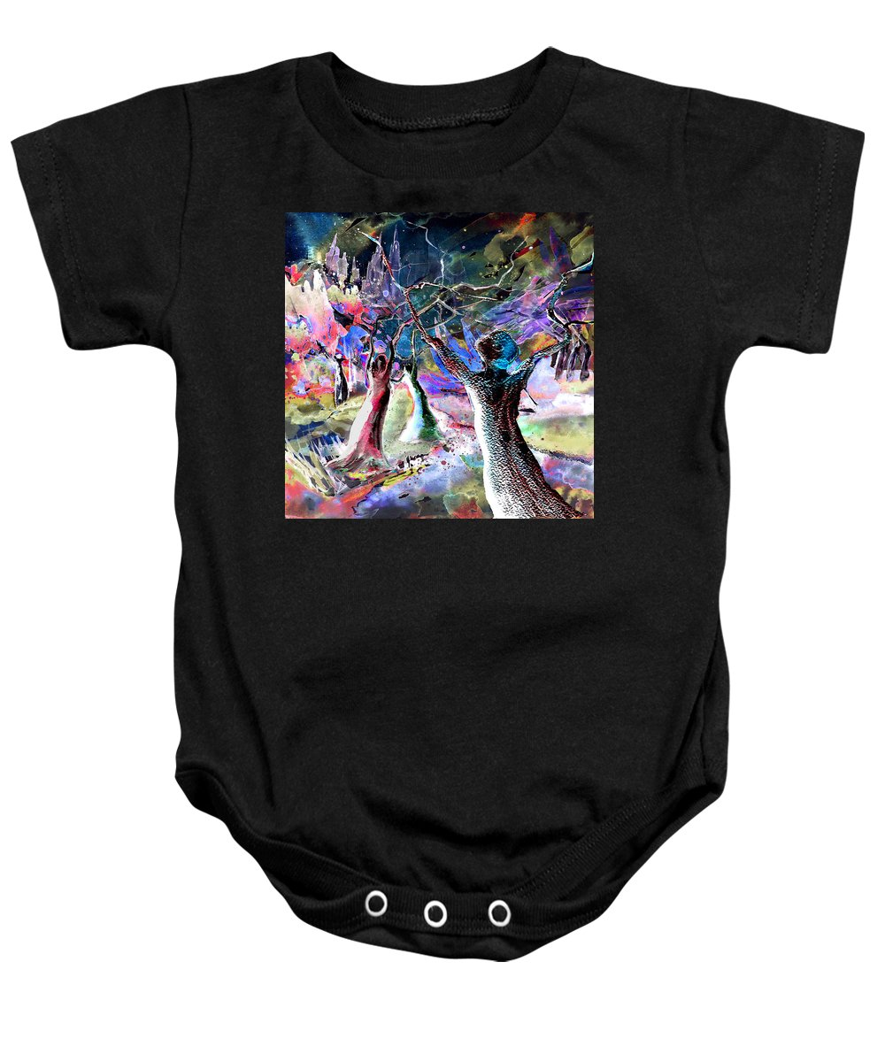 People Baby Onesie featuring the painting The Klan by Miki De Goodaboom