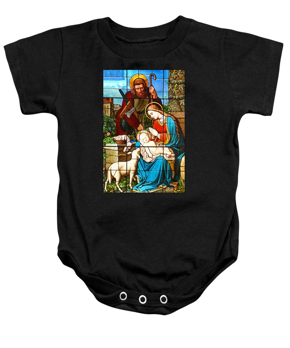 Stained Glass Baby Onesie featuring the painting The Lamb by Munir Alawi