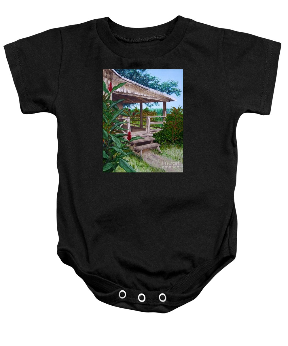 House Baby Onesie featuring the painting The Lanai by Mary Deal