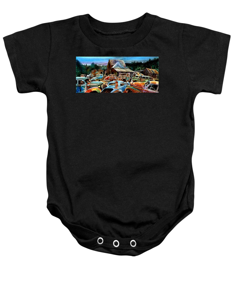 Old Cars Baby Onesie featuring the painting The Last Stand by Ron Morrison